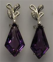 Sale 8036A - Lot 358 - A PAIR 18CT WHITE GOLD DIAMOND AND GEM SET EARRINGS; each a kite shapen cabochon amethyst to surmount set with 6 round brilliant cut...