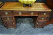 Sale 8093 - Lot 1004 - Oriental Timber Twin Pedestal 3 Drawer Desk