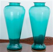 Sale 8515A - Lot 18 - A near pair of Italian wasted turquoise glass baluster vases, taller H 38cm