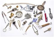 Sale 8528A - Lot 57 - A quantity of corkscrews, initialled bottle labels and other drinking paraphernalia