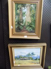 Sale 8557 - Lot 2100 - 2 Works: N. Hoffman, Shed Lake Cathie & Forest Scene, Oils, 21.5x29cm & 29x21cm
