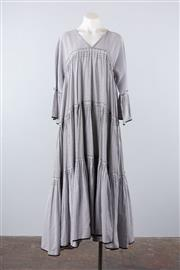 Sale 8760F - Lot 131 - A never-worn Choice Moda grey striped cotton tiered dress, size large