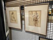 Sale 8936 - Lot 2043 - Moses Soyer (1899-1974) (2 works)  Hitched Dress & Portrait of Seated Nude ink and wash, each 43 x 35cm (frame) and signed