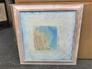 Sale 9036 - Lot 2061 - Artist unknown, Blue abstract, mixed media on board, 73 x 73cm (frame), signed
