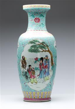 Sale 9098 - Lot 452 - Turquoise ground Chinese vase depicting immortals in a garden setting (H61.5cm)
