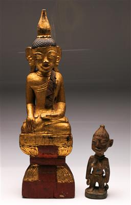 Sale 9119 - Lot 100 - A gilded Thai timber buddha H:68cm, together with an African fertility figure H: 28cm
