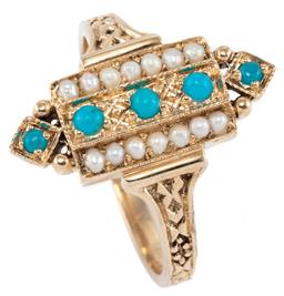 Sale 9221 - Lot 368 - A 9CT GOLD EDWARDIAN STYLE STONE SET RING; featuring 5 cabochon turquoise adjacent to 2 rows of seed pearls, size O, width 18.7mm, w...