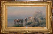 Sale 8015A - Lot 16 - JAN HENDRIK SCHELTEMA (1861-1938) - Cattle in Landscape 40 x 78 cm