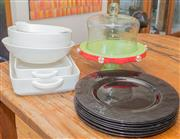 Sale 8380A - Lot 41 - A group of useful baking and serving wares including lasagne dishes, blue glass plates, fruit bowl and covered cake comport