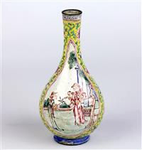 Sale 8392H - Lot 56 - An early Chinese metal pear shaped vase featuring a double cartouche on yellow ground, height 13.5cm