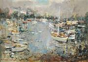 Sale 8510 - Lot 510 - Karlis Mednis (1910 - 1999) - Untitled, 1968 (Boats on a Harbour) 64 x 89cm
