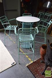 Sale 8532 - Lot 1198 - Five Piece Outdoor Setting incl. Round Top Table & Five Metal Bar Stools