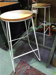 Sale 8562 - Lot 1079 - Pair of Metal Stools with Timber Tops -