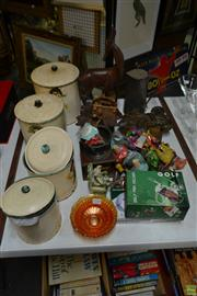 Sale 8563T - Lot 2250 - Collection of Sundries incl Canisters, Marbles, Cuckoo Clock, Carnival Glass Dish, Golf Items etc