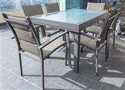 Sale 8593A - Lot 95 - A seven piece outdoor setting by Furniture Solutions