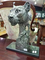 Sale 8657 - Lot 1084 - Silver Coloured Leopard Bust on Composite Base