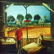 Sale 8695A - Lot 5076 - Kevin Charles (Pro) Hart (1928 - 2006) - The Wool Shed 30 x 30cm