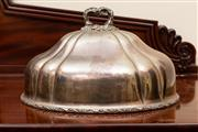 Sale 8882H - Lot 41 - A William IV/ Victorian Sheffield plate meat dome with an armorial paschal lamb, Length 38cm