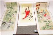 Sale 9032 - Lot 71 - Group of three Chinese scrolls incl. 2 with porcelain handles