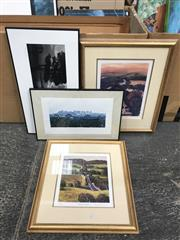 Sale 9033 - Lot 2092 - A group of 4 works: 2 decorative prints by Murray Edwards, a black and white photograph of a river, and one photograph of a town