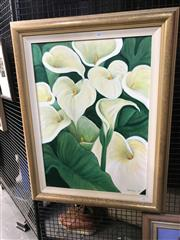 Sale 9045 - Lot 2007 - Susie Sierra Arum Lilies, 1995 oil on canvas (AF - minor foxing) 88 x 68cm (frame) signed and dated lower right