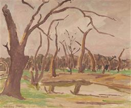 Sale 9161A - Lot 5112 - WILLIAM FRATER (1890 - 1974) Billabong near Murray River oil on board 47 x 57 cm (frame: 64 x 74 x 4 cm) signed lower left