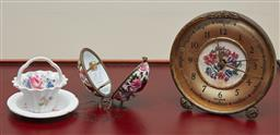Sale 9098H - Lot 32 - An English floral alarm clock with a key together with an egg form perfume bottle container, a floral basket and a pin dish.