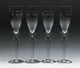 Sale 9144 - Lot 404 - Set of 4 Waterford crystal champagne flutes (H:26cm)