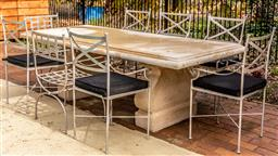 Sale 9191W - Lot 433 - A  GRC  Yard ware outdoor dining table H.740mm W.1010mm L.240cm
