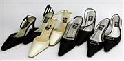 Sale 8134B - Lot 323 - FOUR PAIRS OF ALAN PINKUS SATIN AND LEATHER SHOES; 3 in black, Naomi (8) Quich with diamante buckle (8), Ginger with beads and a pai...
