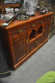 Sale 8326 - Lot 1281 - Sideboard w 3 Drawers above 4 Carved Panel Doors
