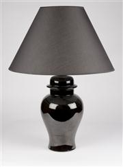 Sale 8350L - Lot 11 - A pair of black urn lamps with black shades, total H 67cm, RRP $980, by Bagni