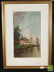 Sale 8468 - Lot 2019 - Artist Unknown - Thatched Roof Cottage Along the River, 1915 31 x 18.5cm