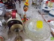 Sale 8478 - Lot 2512 - Collection of Sundries incl Set of 10 Etched Glasses with Jug, Infra-Red Lamp & Vintage Childrens Toy