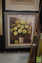 Sale 8506 - Lot 2028 - P. Currey, Daisies, oil painting, signed