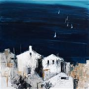 Sale 8558 - Lot 522 - Cheryl Cusick - Lake Houses 100 x 100cm