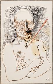 Sale 8583 - Lot 559 - Brett Whiteley (1939 - 1992) - Tools of the trade and the dot, 1980 (Portrait of Joel Elenberg) 50.5 x 31.5cm