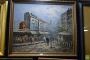 Sale 8569 - Lot 2034 - Artist Unknown, Paris Street Scene, acrylic on board, framed 56 x 67cm, signed Bennett lower right