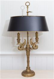 Sale 8677B - Lot 922 - A pair of empire style buillotte lamps with black shades, total height 74cm
