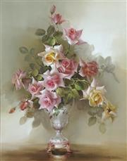 Sale 8722 - Lot 567 - Jill Kirstein (1938 - ) - Roses in a Pearl Vase 72 x 57cm