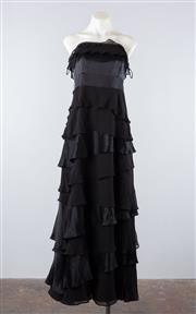 Sale 8760F - Lot 190 - A Monsoon tiered satin and organza black dress, size 14