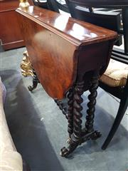 Sale 8814 - Lot 1046 - Victorian Burr Walnut Sutherland Table, with barley twist gate legs & castors