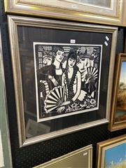 Sale 8895 - Lot 2005 - Thea Procotor -Woman with Fan, Framed Decorative Print