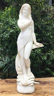 Sale 9015G - Lot 86 - Carved Alabaster Venus on Moon Sculpture (General Wear .Marks, Chipping ,Previous Repair) Size: 83cm H