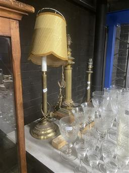 Sale 9101 - Lot 2380 - Collection of brass table lamps inc candle stick example