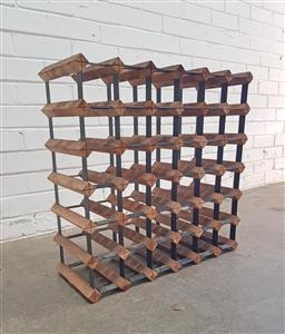Sale 9108 - Lot 1043 - Timber and metal wine rack (h:62 w:62 d:24cm)
