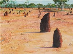 Sale 9116A - Lot 5074 - Terence ODonnell (1942 - ) Termite Mounds, North West Queensland, 1987 pastel 54 x 73 cm (frame: 79 x 97 x 4 cm) signed and dated l...
