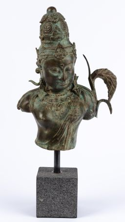 Sale 9150J - Lot 44 - Patinated Bronze Bust of Shiva, on stone base - total height 60cm