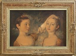 Sale 9164H - Lot 81 - A print of two sisters in a decorative frame, slight losses, frame size 52cm x 70cm