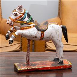 Sale 9160H - Lot 123 - A c.1900 Rajastan Indian horse figure in papier mache over timber pedestal, with saddle accessorie, Height 60cm x Length 52cm, ex ma...